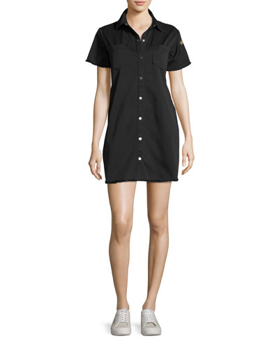Short-Sleeve Button-Down Cotton Dress, Black