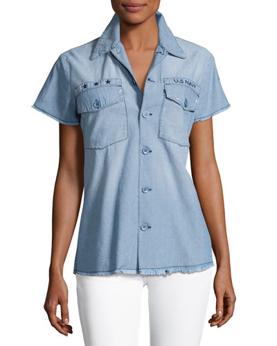 Short-Sleeve Denim Shirt, Blue