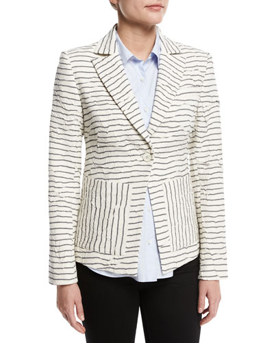 Striped Textured Single-Button Blazer, White