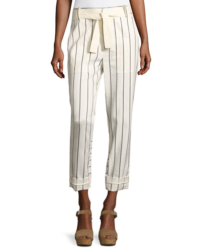 Belted Striped Utility Pants, White