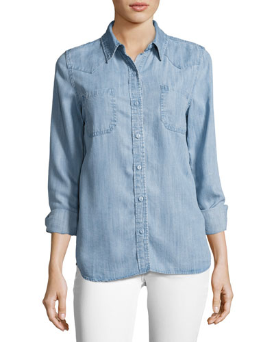 Long Sleeve Button-Down Denim Shirt, Blue