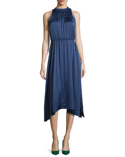 Sleeveless Shirred Satin Midi Dress, Gray Blue