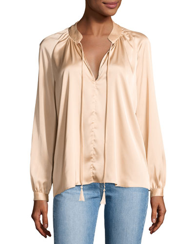 Nehru Long-Sleeve Satin Blouse, Blush