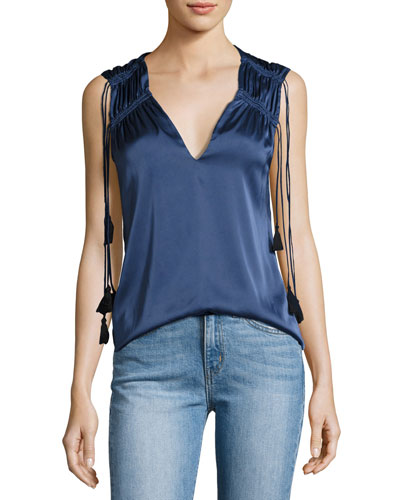 Sleeveless Tassel-Trim V-Neck Blouse, Blue-Gray