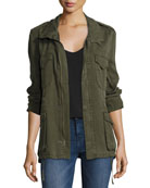 Utility Zip-Front Army Jacket, Green