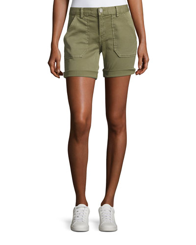 Mid-Rise Cuffed Shorts, Green