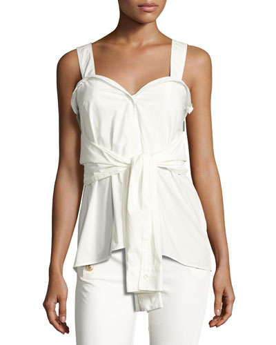 Sleeveless Tie-Front Sweetheart Poplin Top, White