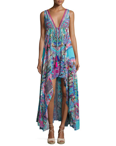 Embellished Crepe V-Neck Drawstring Maxi Dress, Festival Friends