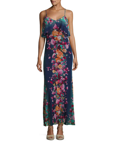 Floral-Print Tulle Ruffle Slip Dress, Blue