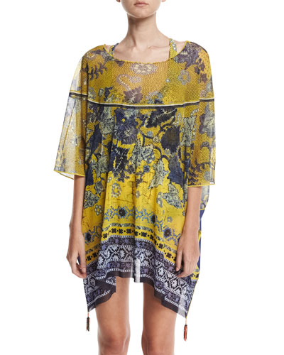 Antique Floral Tulle Caftan Coverup with Tassels, Yellow
