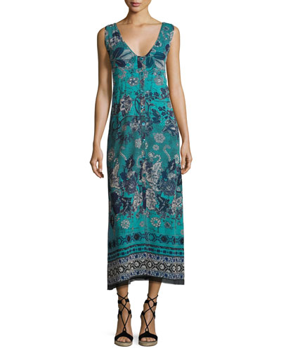 Reversible Button-Front Coverup Maxi Dress, Blue