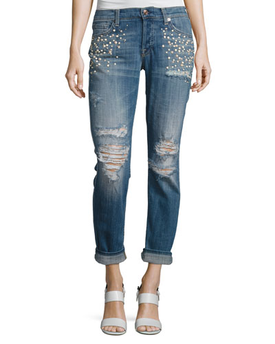 Josephina Distressed Boyfriend Jeans with Pearly Details, Indigo