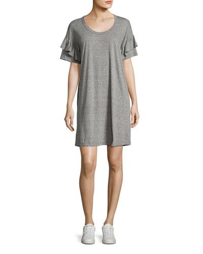 The Ruffle Roadie T-Shirt Dress, Gray/Red