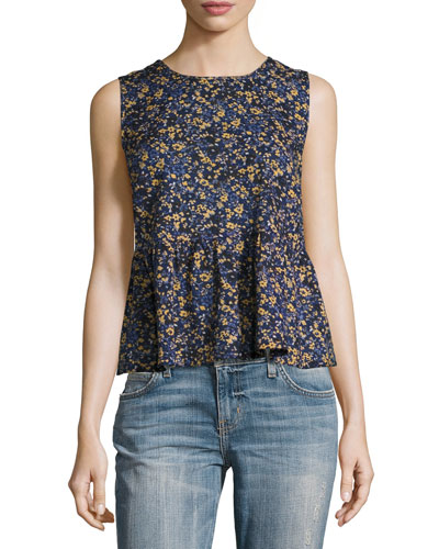 The Peplum Tank Top, Floral Field (Blue)