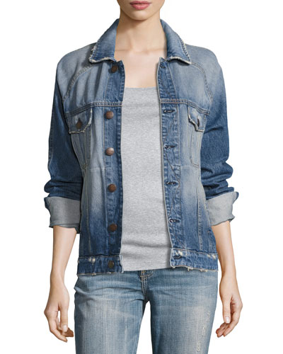 The Raglan Distressed Denim Jacket, Indigo