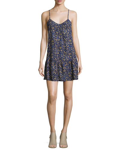 The Strappy Cotton Cami Dress, Floral Field (Blue)