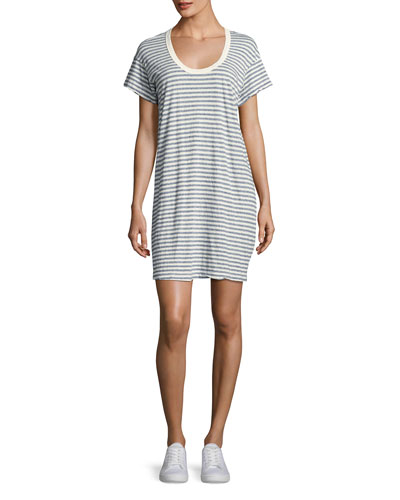 The Slouchy Scoop-Neck T-Shirt Dress, Blue Stripe