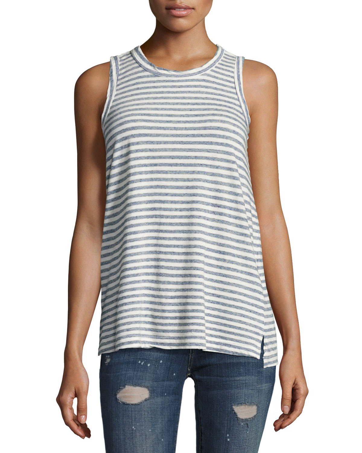 The Muscle Striped Tee, Blue