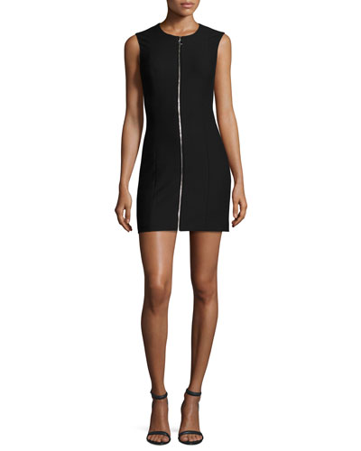 Susannah Sleeveless Full-Zip Bodycon Mini Dress, Black