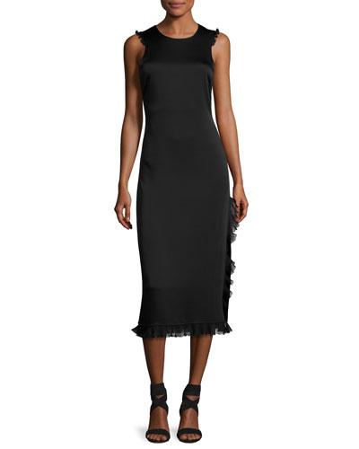 Adriene Cross-Back Satin Midi Dress, Black