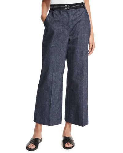 Hudson Cropped Wide-Leg Trousers, Indigo