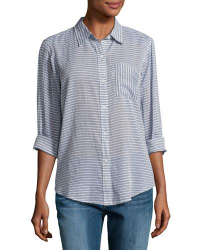 The Boyfriend Shirt, Stripe Chambray (Indigo)