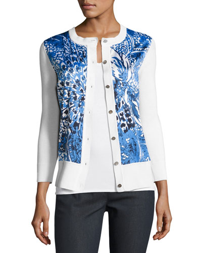 Lotus Blossom 3/4-Sleeve Cardigan, White/Multi