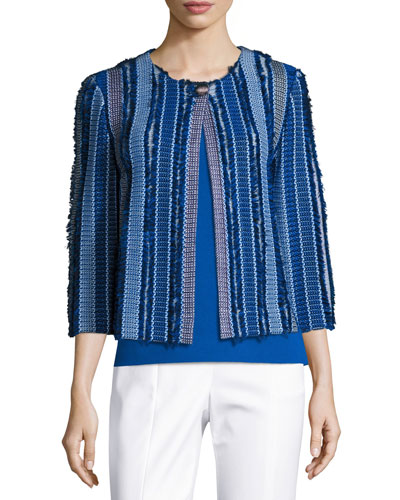 Damik Fil Coupé 3/4-Sleeve Jacket, Blue/Multi
