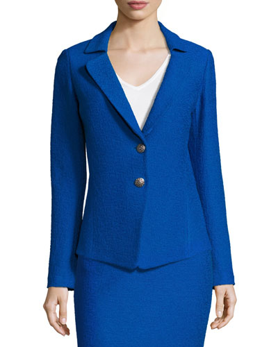 Clair Knit Peplum-Back Jacket, Blue