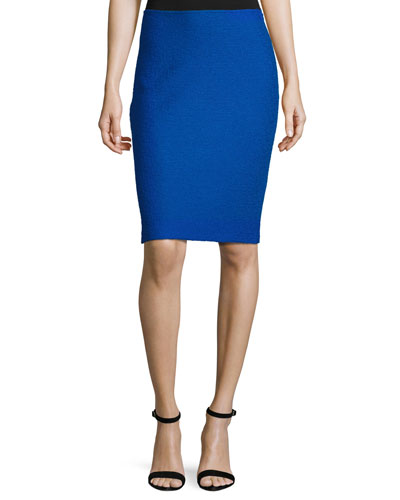 Clair Knit Pencil Skirt, Blue