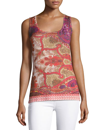 Superfine Medallion Silk-Blend Tank