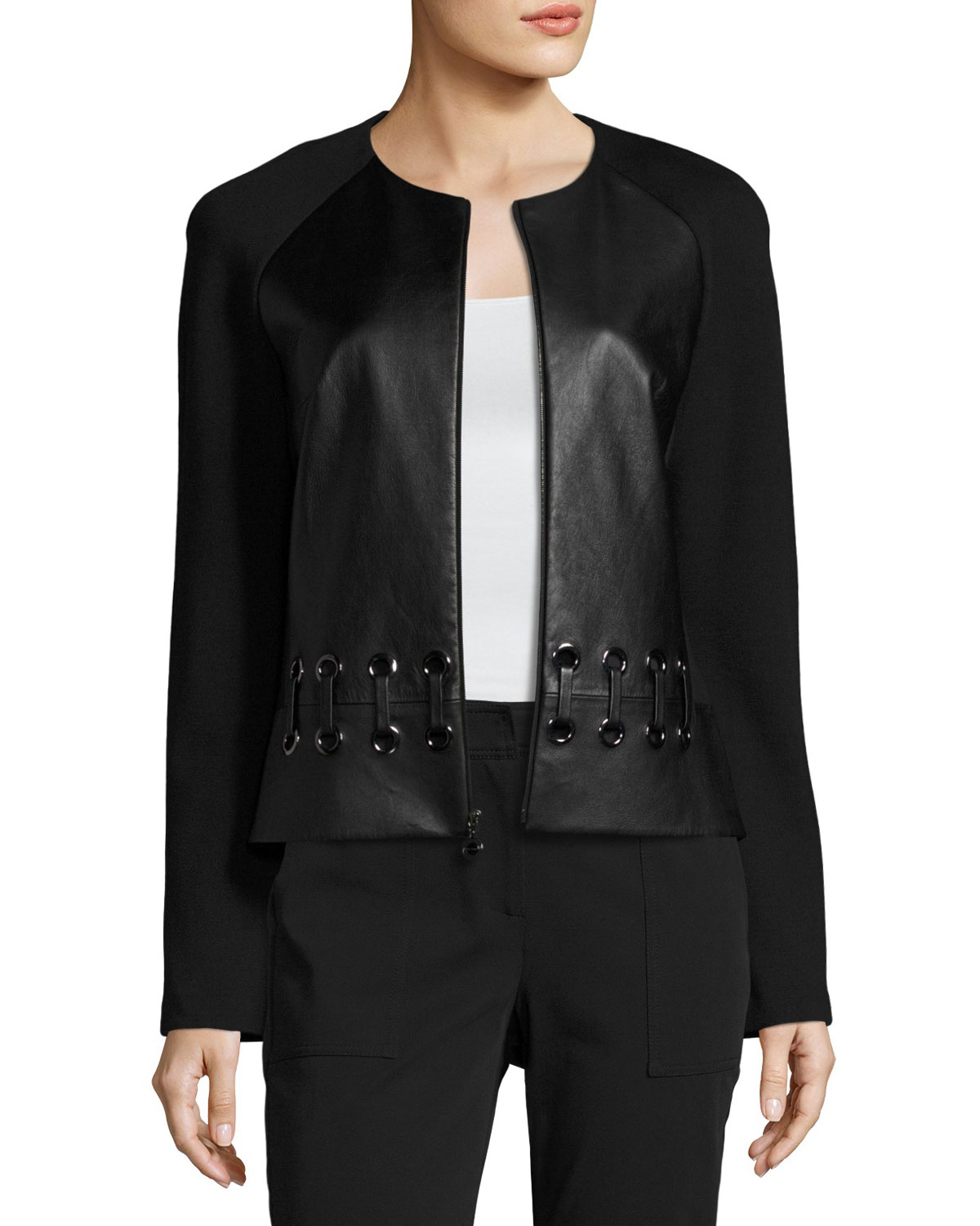 Milano Knit & Leather Laced Jacket, Black
