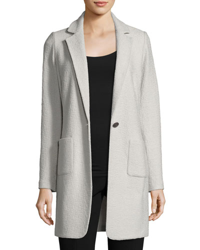 Clair Knit Skinny-Lapel Jacket, Light Gray