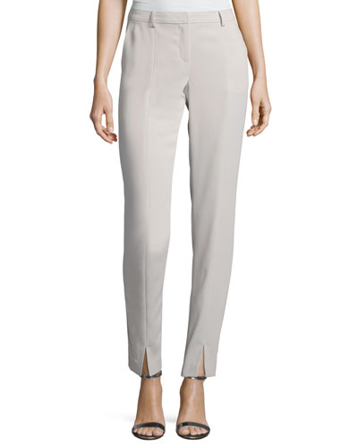 Classic Stretch Cady Ankle Pants, Light Gray