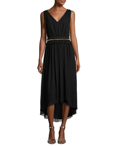 Crinkled Georgette V-Neck Picot-Edge Dress, Black