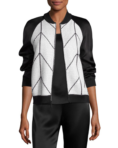 Prisha Geometric Knit Bomber Jacket, White/Black