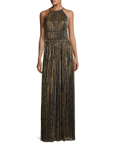 Metallic Plissé Halter Gown, Black/Gold