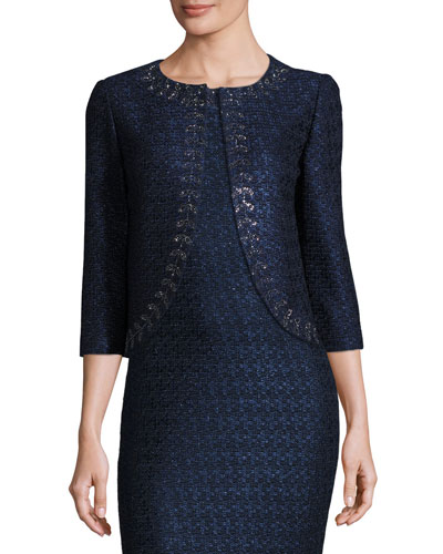 Jiya Sparkly Knit 3/4-Sleeve Jacket, Navy