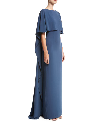 Lightweight Satin Cape Gown, Navy