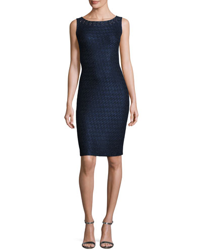 Jiya Sparkle-Knit Bateau-Neck Dress, Navy