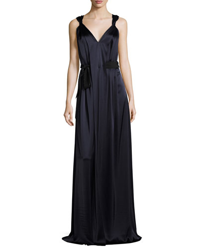 Liquid Satin V-Neck Gown with Twisted Straps, Navy