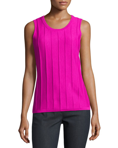 Ottoman Stitch Scoop-Neck Shell, Pink