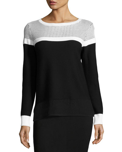 Technical Mesh Bateau-Neck Sweater, Black/White