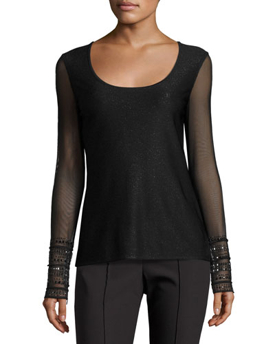 Sparkle Luxe Sculpture Knit Scoop-Neck Top, Black