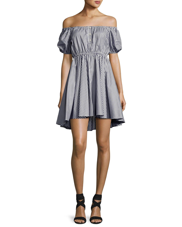 Gingham OfftheShoulder Bardot Dress NavyWhite