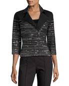 Milano Knit 3/4-Sleeve Moto Jacket