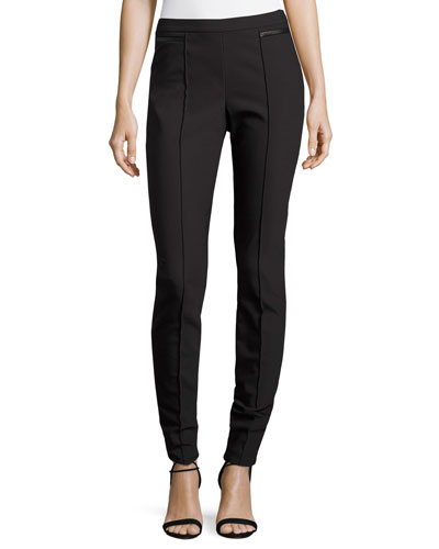 Scuba Bi-Stretch Leather-Trim Leggings, Black