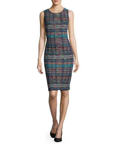 Dara Knit Jewel-Neck Sheath Dress
