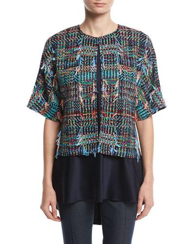 Dara Fringe Knit Kimono Jacket, Multi