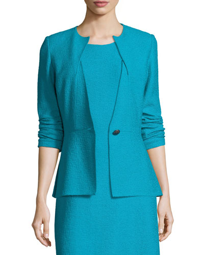 Clair Knit Peplum Jacket, Blue